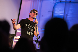 © Licensed to London News Pictures . 14/08/2015 . Manchester , UK . Poet MIKE GARRY hosts a tribute to Tony Wilson at Old Granada Studios . Photo credit : Joel Goodman/LNP