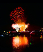 Saskatoon PotashCorp Fireworks Festival, Saturday night fireworks, September 3, 2011, shot from Senator Syd Buckwold Bridge, north sidewalk, west side of bridge, above first pier.