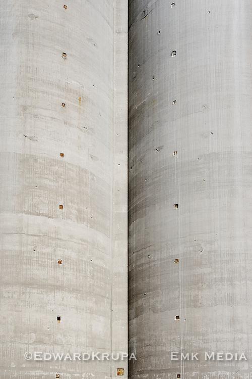 Storage silos in the Portlands district in Toronto, Ontario, Canada.