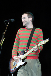 Fran Healy, lead singer of the Scottish band Travis, headline the main stage on Sunday 9th July at the T in the Park music festival, held at Balado, Kinross in Fife, Scotland, on the weekend of Saturday 8 July and Sunday 9 July 2000..