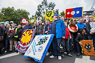 West Ham, Millwall, Wolves, Norwich wreaths during the Football Lads Alliance march between Park Lane and Westminster Bridge, London on 7 October 2017. Photo by Phil Duncan.