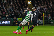 Odsonne Edouard of Celtic FC gets forced out of the challenge by Guillermo Varela of FC Copenhagen during the Europa League match between Celtic and FC Copenhagen at Celtic Park, Glasgow, Scotland on 27 February 2020.