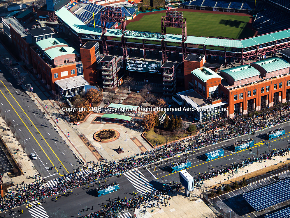 Aerial view of the Super Bowl Parade outside of Citizens Bank Park