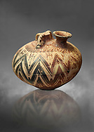Mycenaean three handled styrrup jar with painted zig zag  and double axesdesigns, Tholos tomb 2 , Myrsinochori, Messenia, 15th cent BC. National Archaeological Museum Athens. Cat No 8376. Grey art Background .<br /> <br /> If you prefer to buy from our ALAMY PHOTO LIBRARY  Collection visit : https://www.alamy.com/portfolio/paul-williams-funkystock/mycenaean-art-artefacts.html . Type -   Athens    - into the LOWER SEARCH WITHIN GALLERY box. Refine search by adding background colour, place, museum etc<br /> <br /> Visit our MYCENAEN ART PHOTO COLLECTIONS for more photos to download  as wall art prints https://funkystock.photoshelter.com/gallery-collection/Pictures-Images-of-Ancient-Mycenaean-Art-Artefacts-Archaeology-Sites/C0000xRC5WLQcbhQ