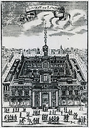 Royal Exchange, London, England. Engraving, 1686.