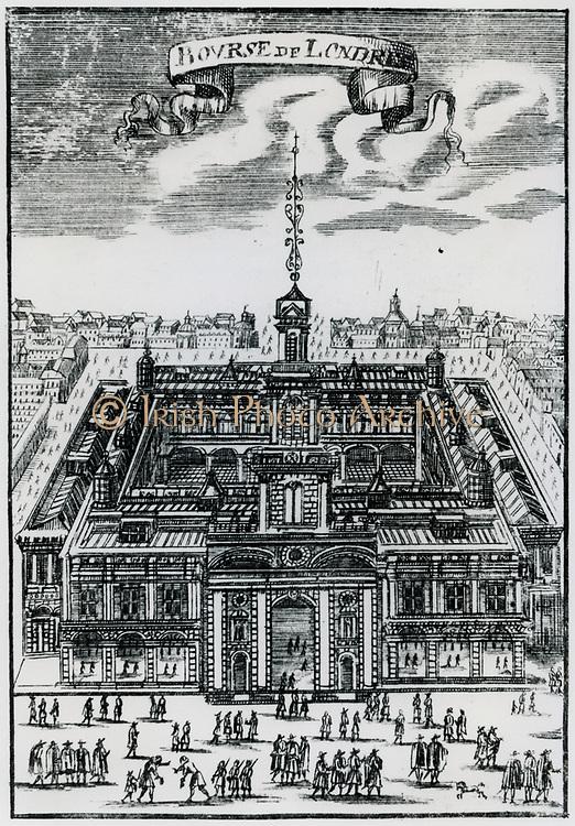 Royal Exchange, London, England. Engraving, 1686.