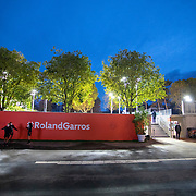 PARIS, FRANCE October 05. Ball boys and girls warm up as play goes into the evening g on the outside courts during the French Open Tennis Tournament at Roland Garros on October 5th 2020 in Paris, France. (Photo by Tim Clayton/Corbis via Getty Images)