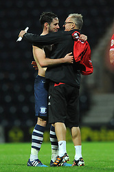 Greg Cunningham of Preston North End speaks with Bristol City's David Coles - Mandatory byline: Dougie Allward/JMP - 07966386802 - 15/09/2015 - FOOTBALL - Deepdale Stadium -Preston,England - Bristol City v Preston North End - Sky Bet Championship