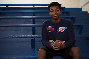 Jalik Lewis, 13, poses for a portrait before a 7th grade basketball game at Durant Middle School in Durant, Oklahoma on January 27, 2017.  (Cooper Neill for The New York Times)
