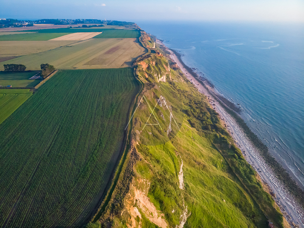 Aerial view of Octeville Coastline westside with Le Havre city in background, Normandy, France.