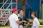 "Rio de Janeiro. BRAZIL.  GBR LW2X. chat before the start of the days prgramme, left to roight, Paul REEDY, Kat COPELAND and Charlotte TAYLOR.  2016 Olympic Rowing Regatta. Lagoa Stadium,<br /> Copacabana,  ""Olympic Summer Games""<br /> Rodrigo de Freitas Lagoon, Lagoa.   Monday  08/08/2016 <br /> <br /> [Mandatory Credit; Peter SPURRIER/Intersport Images]"