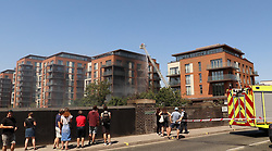 A fire started on a balcony of a new build apartment block in West Hampstead, London. 03 Jul 2018 Pictured: Fire West Hampstead. Photo credit: LDNPIX / MEGA TheMegaAgency.com +1 888 505 6342