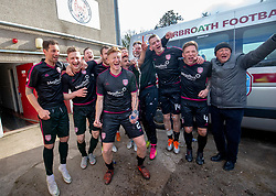 Arbroath's players cele winning the league. Brechin City 1 v 1 Arbroath, Scottish Football League Division One played 13/4/2019 at Brechin City's home ground Glebe Park. Arbroath win promotion.