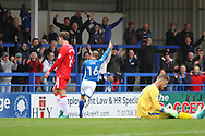 GOAL Matty Done celebrates 3-0 during the EFL Sky Bet League 1 match between Rochdale and Gillingham at Spotland, Rochdale, England on 23 September 2017. Photo by Daniel Youngs.