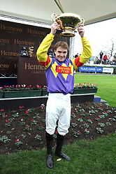 Hennessy Gold Cup winning jockey TOM SCUDAMORE at the 2008 Hennessy Gold Cup held at Newbury racecourse, Berkshire on 29th November 2008.<br /> <br /> NON EXCLUSIVE - WORLD RIGHTS