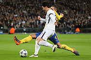 Son Heung-Min of Tottenham Hotspur (7) crossing the ball during the Champions League match between Tottenham Hotspur and Juventus FC at Wembley Stadium, London, England on 7 March 2018. Picture by Matthew Redman.