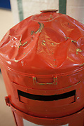 This is the slightly battered red post box on D wing at HMP Kingston, Portsmouth, United Kingdom. It is for use by the prisoners to send letters to people outside the prison. Kingston prison is a category C prison holding indeterminate sentenced prisoners.