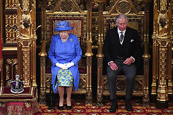 Queen Elizabeth II and the Prince of Wales in the House of Lords for the State Opening of Parliament by Queen Elizabeth II, in the House of Lords at the Palace of Westminster in London.