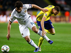 November 20, 2018 - Stockholm, Sweden - Marcus Berg (R) of Sweden and Georgi Dzhikiya of Russia vie for the ball during the UEFA Nations League B Group 2 match between Sweden and Russia on November 20, 2018 at Friends Arena in Stockholm, Sweden. (Credit Image: © Mike Kireev/NurPhoto via ZUMA Press)