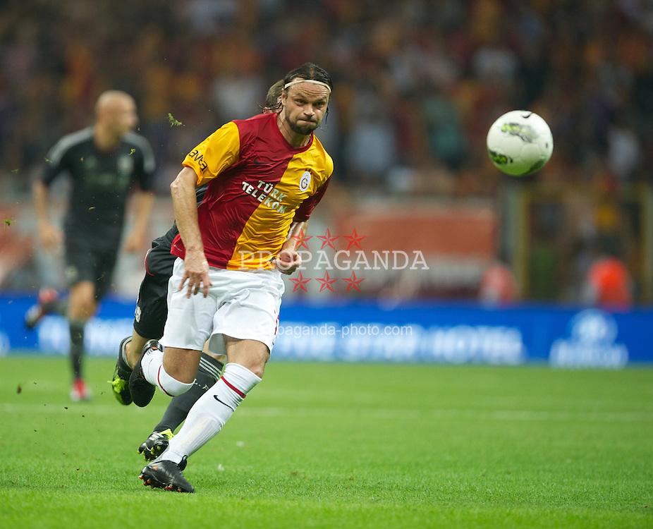 ISTANBUL, TURKEY - Thursday, July 28, 2011: Galatasaray's Tomas Ujfalusi in action against Liverpool during a preseason friendly match at the Turk Telekom Arena. (Photo by David Rawcliffe/Propaganda)
