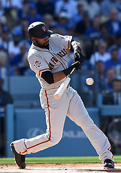 March 29, 2018 - Los Angeles, CA, U.S. - LOS ANGELES, CA - MARCH 29: San Francisco Giants Center field Austin Jackson (16) hits for a base hit during the MLB opening day game between the San Francisco Giants and the Los Angeles Dodgers on March 29, 2018 at Dodger Stadium in Los Angeles, CA. (Photo by Chris Williams/Icon Sportswire) (Credit Image: © Chris Williams/Icon SMI via ZUMA Press)