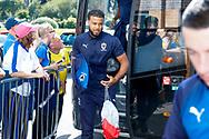 Wimbledon midfielder Tom Soares (19) arrives during the EFL Sky Bet League 1 match between Burton Albion and AFC Wimbledon at the Pirelli Stadium, Burton upon Trent, England on 1 September 2018.