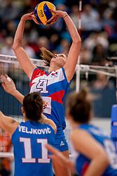 01-10-2017 AZE: Final CEV European Volleyball Nederland - Servie, Baku<br /> Nederland verliest opnieuw de finale op een EK. Servië was met 3-1 te sterk / Bojana Zivkovic #4 of Servië