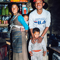 Pasang Ongchu Sherpa and his family at their house in Namche Bazar in the Khumbu region of Nepal 1986.