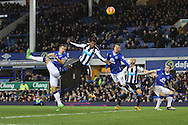 Georginio Wijnaldum of Newcastle United heads towards goal but sees his effort saved. Barclays Premier League match, Everton v Newcastle United at Goodison Park in Liverpool on Wednesday 3rd February 2016.<br /> pic by Chris Stading, Andrew Orchard sports photography.