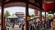 Founded in 645 AD, the popular Buddhist temple Sensoji (or Asakusa Kannon Temple) was completely rebuilt several times, mostly after World War II, in Asakusa, Tokyo, Japan. This image was stitched from multiple overlapping photos.