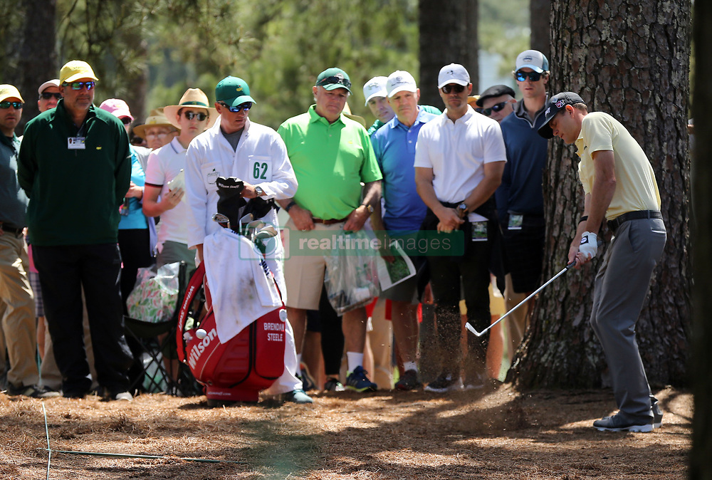 Brendan Steele hits from the woods on the 1st hole during the third round of the Masters Tournament at Augusta National Golf Club in Augusta, Ga., on Saturday, April 8, 2017. (Photo by Curtis Compton/Atlanta Journal-Constitution/TNS) *** Please Use Credit from Credit Field ***