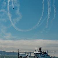 Stunt pilots perform over San Francisco Bay during 2019 Fleet Week in the bay.
