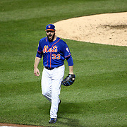 Pitcher Matt Harvey, reacts as he returns to the dugout while pitching during the New York Mets Vs Kansas City Royals, Game 5 of the MLB World Series at Citi Field, Queens, New York. USA. 1st November 2015. Photo Tim Clayton