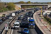 Works by Highways England to convert the M4 into a smart motorway are pictured between Junctions 5 and 6 on 22nd April 2021 in Datchet, United Kingdom. The government has announced that all future all lane running motorways, including any such as the M4 currently being constructed, will require radar technology to detect stopped cars.