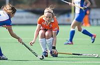BLOEMENDAAL - Melle Spruyt van Bloemendaal tijdens de overgangsklasse competitiewedstrijd hockey tussen de vrouwen van Bloemendaal en Zwolle (2-0). COPYRIGHT KOEN SUYK