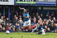 Portsmouth Defender, Nathan Thompson (20) is fouled in the box during the EFL Sky Bet League 1 match between Portsmouth and Rochdale at Fratton Park, Portsmouth, England on 13 April 2019.
