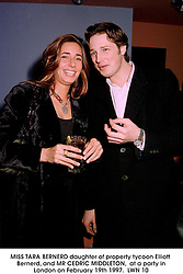MISS TARA BERNERD daughter of property tycoon Elliott Bernerd, and MR CEDRIC MIDDLETON,  at a party in London on February 19th 1997.LWN 10