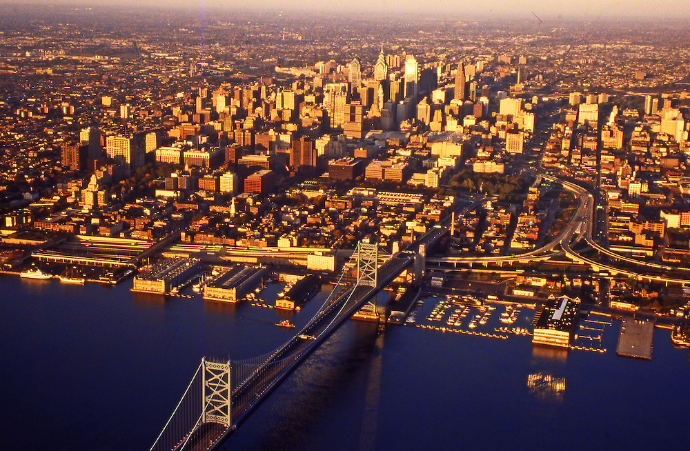 City Center, Waterfront, Independence Historical Park, Delaware River, Aerial, Philadelphia, PA,