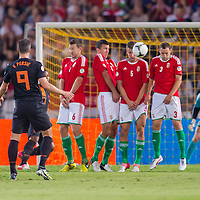 Hungary's line of defense saves a goal during the World Cup 2014 qualifying soccer match Hungary playing against Netherlands in Budapest, Hungary on September 11, 2012. ATTILA VOLGYI