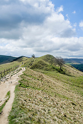 The Great Ridge walking from Mam Tor towards Back Tor and Losehill near Castleton in the Hope Valley <br /> <br />  19 April  2015<br />  Image © Paul David Drabble <br />  www.pauldaviddrabble.co.uk