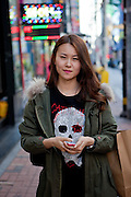 Daegu/South Korea, Republic Korea, KOR, 03.11.2011: Street portrait of a young lady in the South Korean city of Daegu.