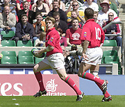 24/05/2002<br /> Sport - Rugby Union<br /> IRB World Sevens Series - Twickenham<br /> Wales v Argentina<br /> Arwel Thomas runs in Wales  try to clinch victory.<br />    [Mandatory Credit, Peter Spurier/ Intersport Images]<br />    [Mandatory Credit, Peter Spurier/ Intersport Images]