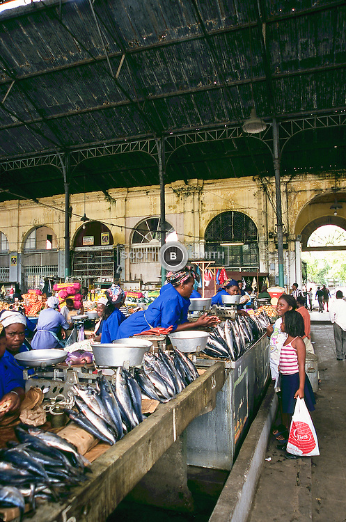 Vendors selling fresh fish in the main city center market, Maputo, Mozambique.