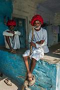 Portrait of Rabari tribesmen at a camel fair near Jodhpur
