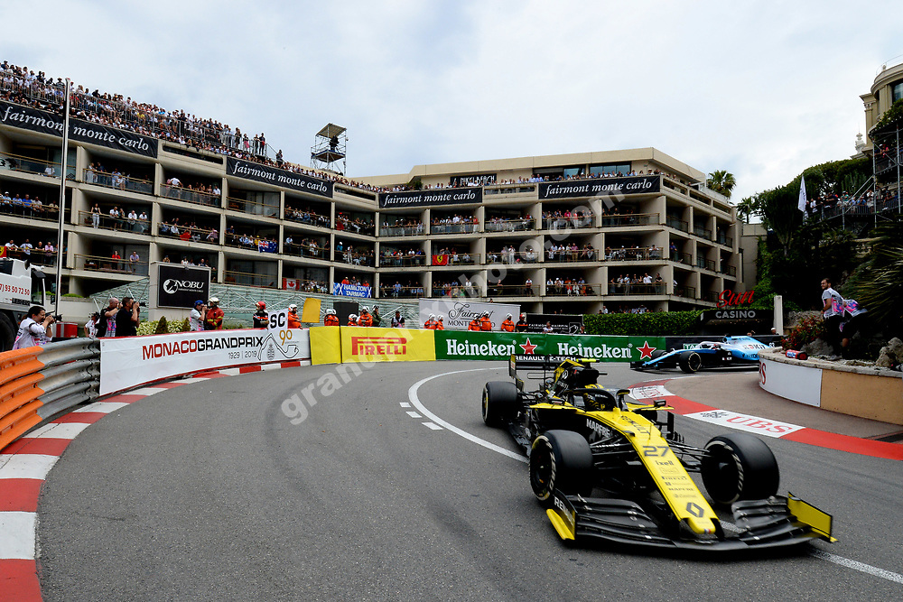 Nico Hulkenberg (Renault) leading Robert Kubica (Williams-Mercedes) during the 2019 Monaco Grand Prix. Photo: Grand Prix Photo