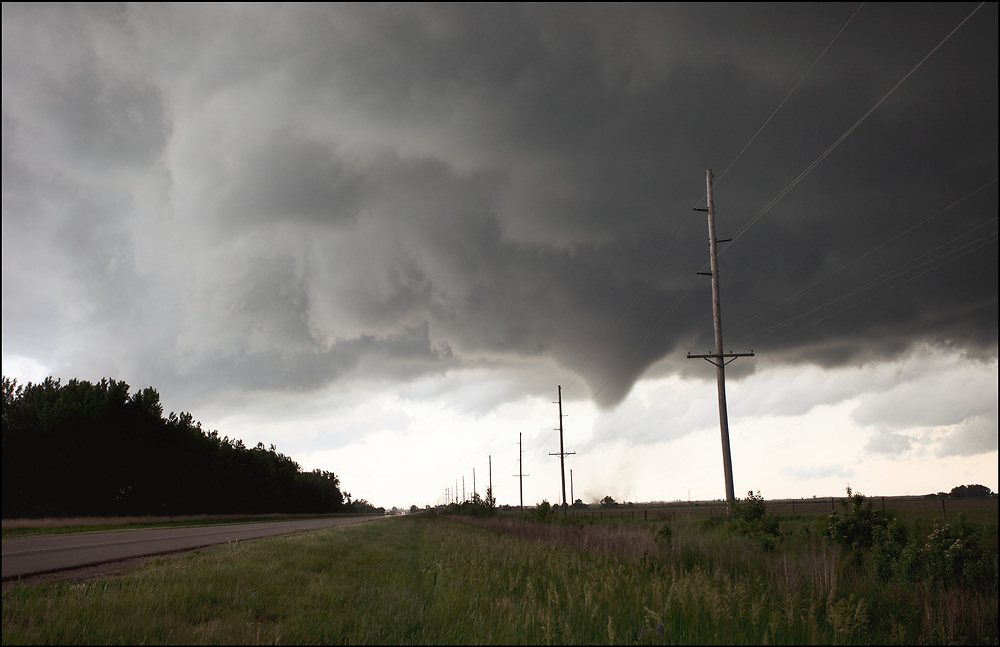Newly formed tornado south of Overton, Nebraska.