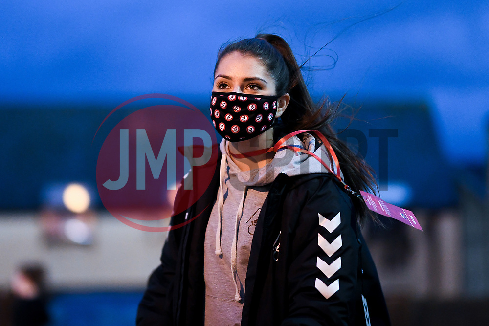 Carla Humphrey of Bristol City Women arrives at Twerton Park prior to kick off - Mandatory by-line: Ryan Hiscott/JMP - 14/11/2020 - FOOTBALL - Twerton Park - Bath, England - Bristol City Women v Tottenham Hotspur Women - Barclays FA Women's Super League