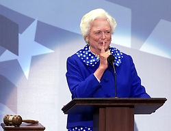 April 16, 2018 - (File Photo) - Former first lady Barbara Bush was reported in failing health and has decided not to seek further medical treatment, a family spokesman says. PICTURED: Aug. 1, 2000 - Philadelphia, Pennsylvania U.S. - BARBARA BUSH signals for quiet as she prepares to introduce her son and GOP presidential nominee George W. Bush at the Republican National Convention in Philadelphia, Pennsylvania on Tuesday evening, August 1, 2000. (Credit Image: © Philadelphia Daily News/TNS/ZUMAPRESS.com)