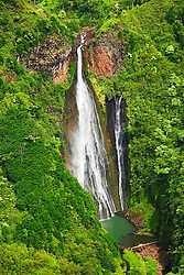 Manawaiopuna Falls, featured in the movie, Jurassic Park, Kauai, Hawaii, Pacific Ocean