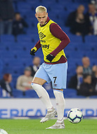 West Ham United forward Marko Arnautovic (7) in warm up during the Premier League match between Brighton and Hove Albion and West Ham United at the American Express Community Stadium, Brighton and Hove, England on 5 October 2018.